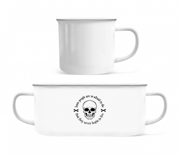 They Never Begin To Live - Enamel-cup - White - Vorn