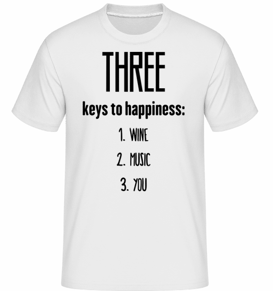 Three Keys To Happiness -  Shirtinator Men's T-Shirt - White - Vorn