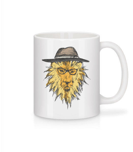 Hipster Lion - Mug - White - Vorn