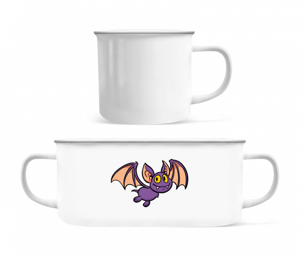 Cartoon Bat - Enamel-cup - White - Vorn
