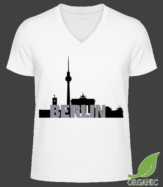 """Berlin Germany - """"James"""" Organické tričko s V-výstrihom - Biela - Predné"""