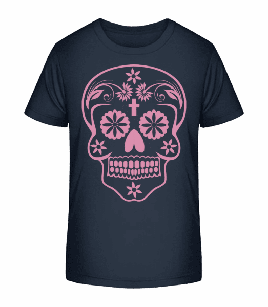 Día de los Muertos Skull - Detské Premium Bio tričko - Namořnická modrá - Napřed