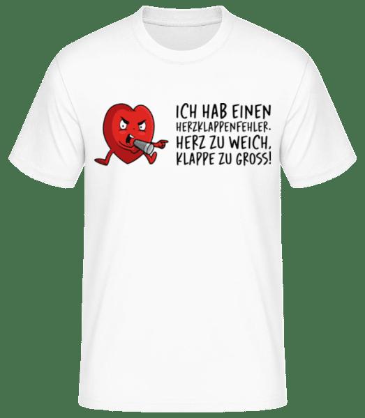 Herzklappenfehler - Männer Basic T-Shirt - Weiß - Vorn
