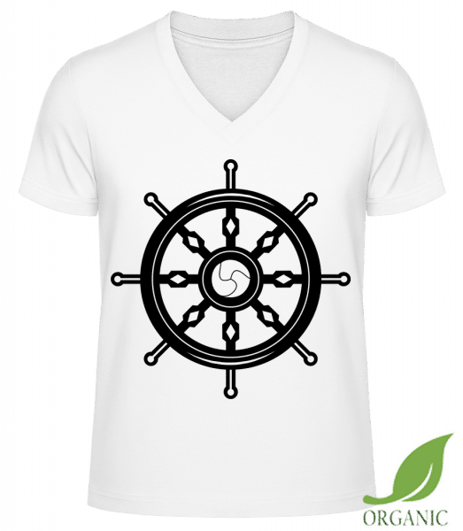 "Wheel Black/White - ""James"" Organic V-Neck T-Shirt - White - Vorn"