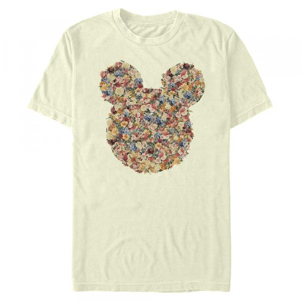 Floral Mickey Head - Disney - Men's T-Shirt - Cream - Front