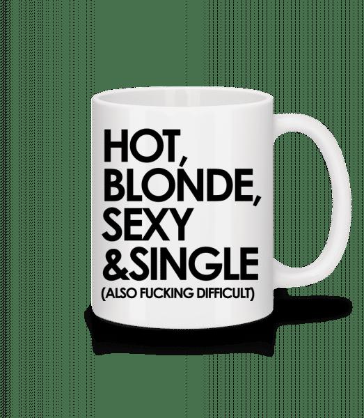 Hot, Blonde, Sexy & Single - Mug - White - Vorn