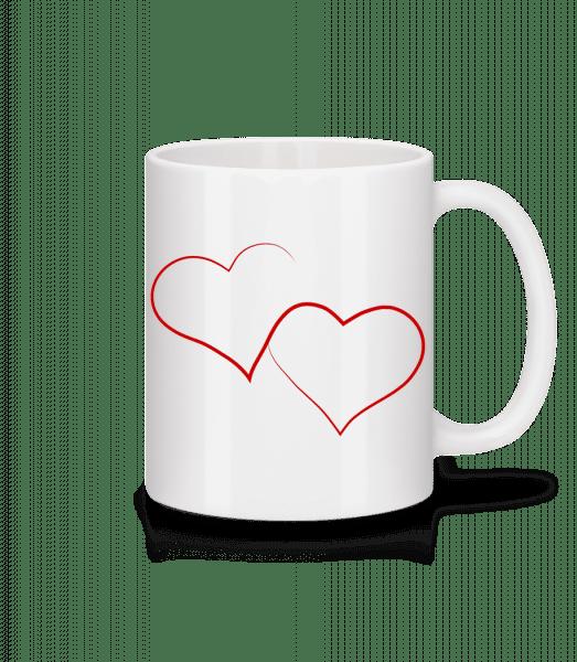 Dvě srdce - Keramický hrnek - Bílá - Napřed