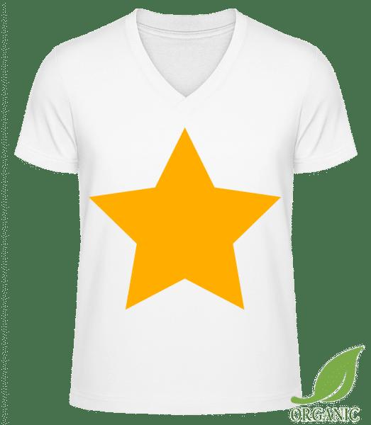 """Star Icon Yellow - """"James"""" Organické tričko s V-výstřihem - Bílá - Napřed"""