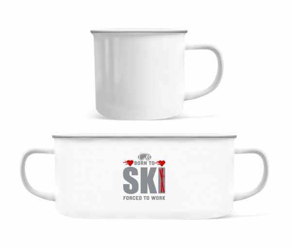 Born To Ski Forced To Work - Enamel-cup - White - Vorn