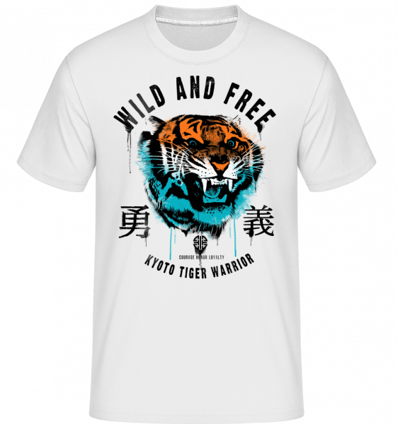 Wild And Free Tiger -  Shirtinator Men's T-Shirt - White - Vorn