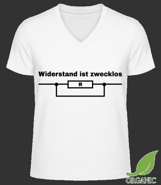Widerstand Ist Zwecklos Physik - Männer Bio V-Neck T-Shirt - Weiß - Vorn