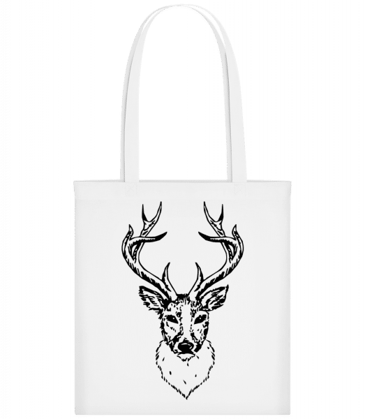 Deer Head Black - Carrier Bag - White - Vorn