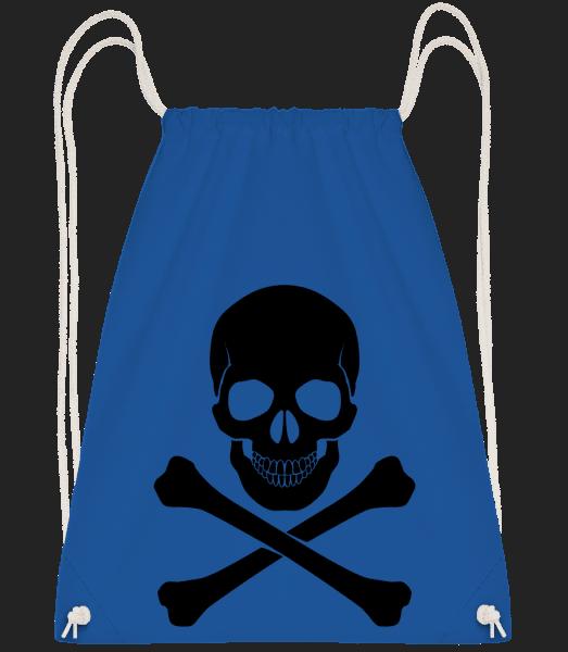 Skull And Bones - Drawstring Backpack - Royal Blue - Vorn