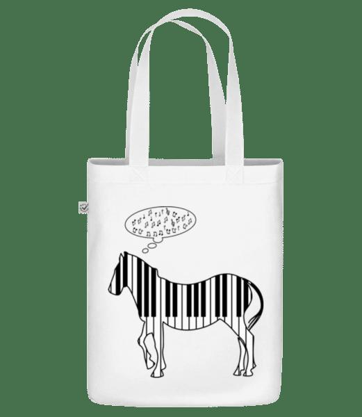 """Piano Zebra - Organic """"Earth Positive"""" tote bag - White - Vorn"""