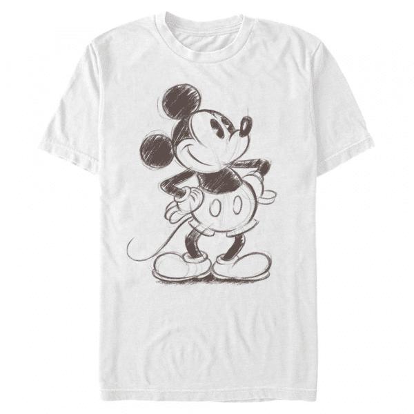 Sketchy Mickey Mouse - Disney - Pánske Tričko - Biela - Predné