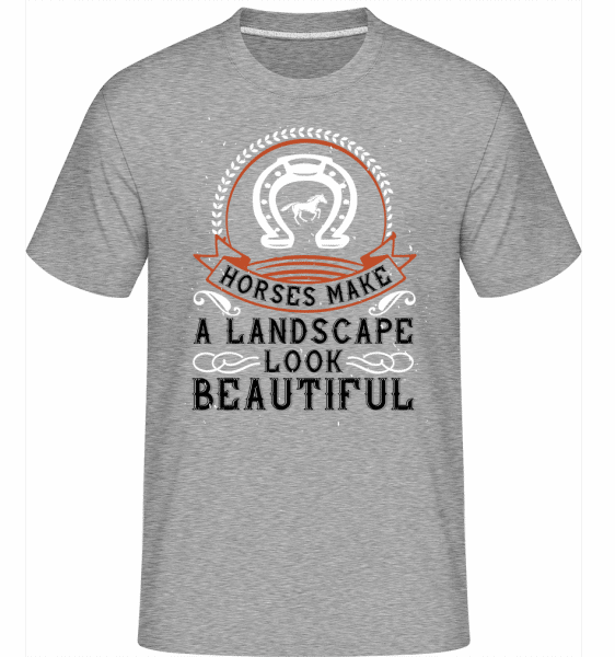 Horses Make A Landscape Look Beautiful -  Shirtinator Men's T-Shirt - Heather grey - Vorn