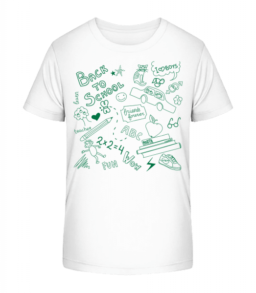 Back To School Symbols - Kid's Premium Bio T-Shirt - White - Front