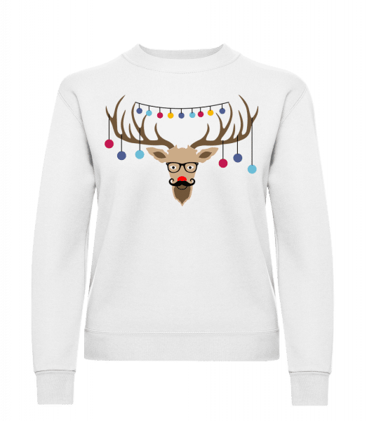 Christmas Reindeer - Classic Ladies' Set-In Sweatshirt - White - Vorn