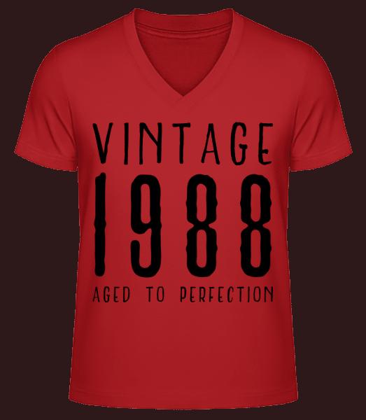 Vintage 1988 Aged To Perfection - Men's V-Neck Organic T-Shirt - Red - Vorn