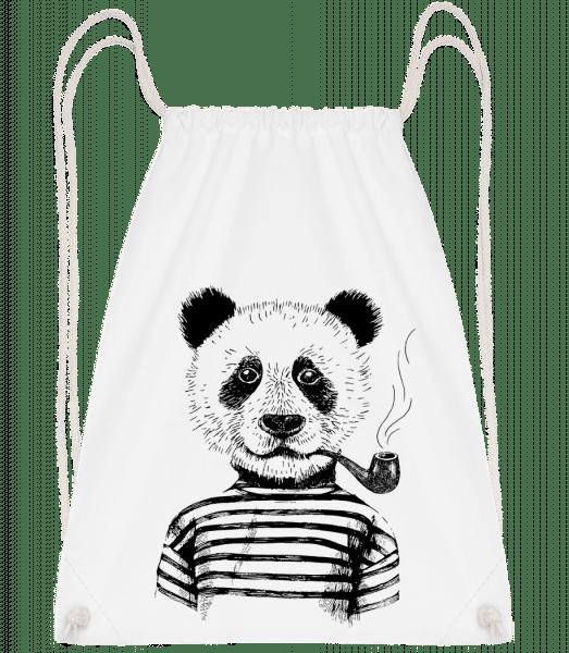 Hipster Panda - Drawstring Backpack - White - Vorn