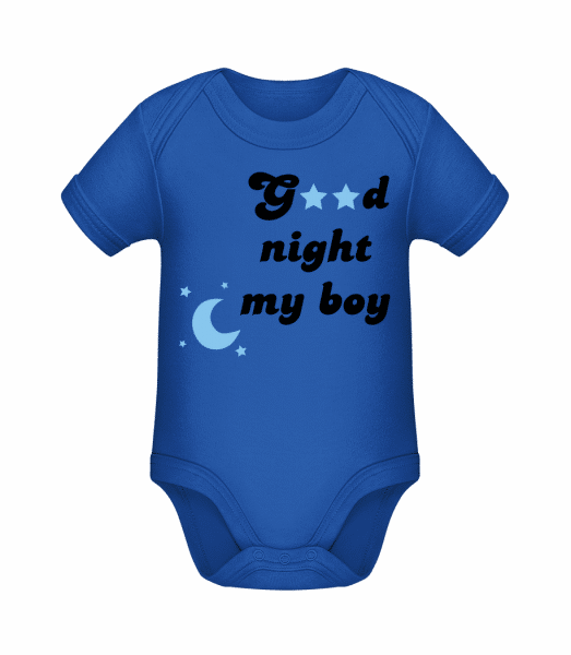 Good Night My Boy - Organic Baby Body - Royal blue - Vorn