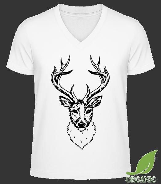 """Deer Head Black - """"James"""" Organic V-Neck T-Shirt - White - Vorn"""