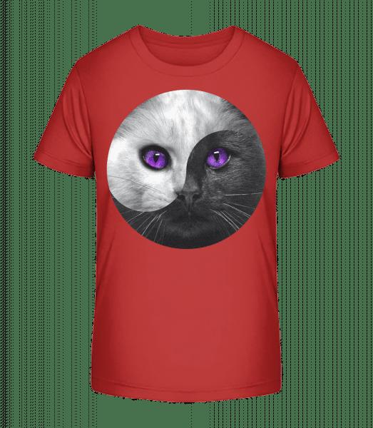 Yin And Yang Cat - Kid's Premium Bio T-Shirt - Cherry - Vorn