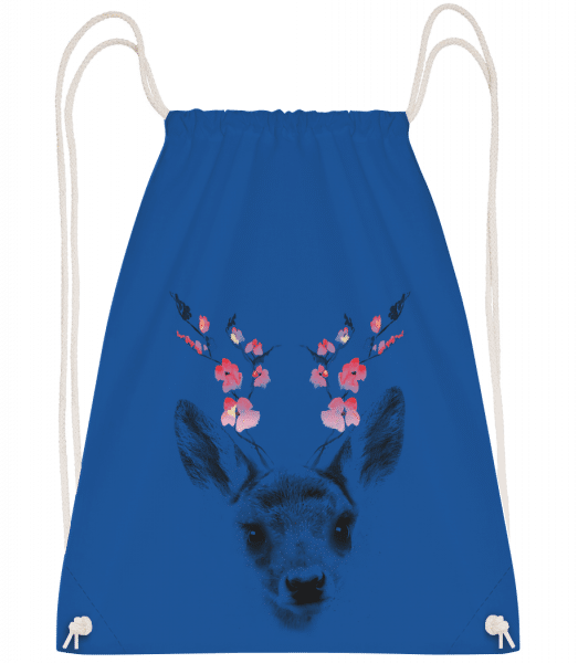 Spring Deer - Drawstring Backpack - Royal blue - Vorn