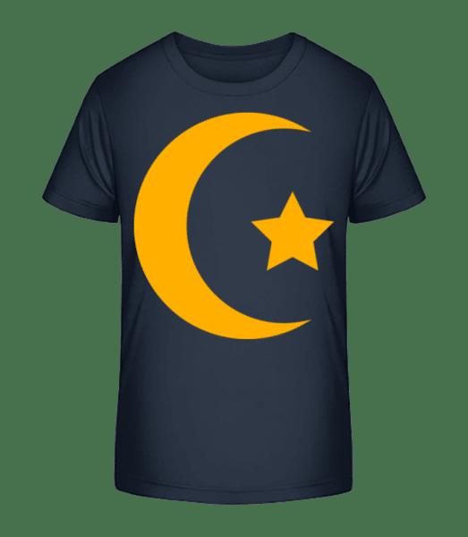 Moon And Star Icon Yellow - Kid's Premium Bio T-Shirt - Navy - Front