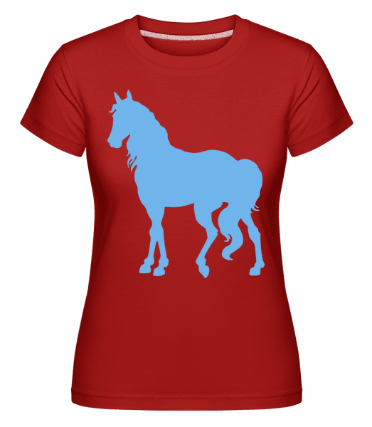 Horse Blue -  Shirtinator Women's T-Shirt - Red - Vorn