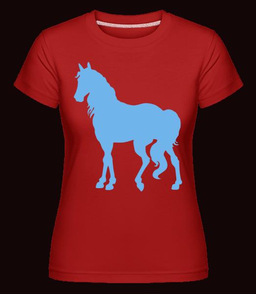 kôň Modrá -  Shirtinator tričko pre dámy - Červená - Predné
