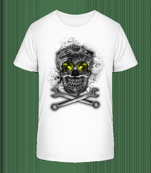 Machine Skull - Kid's Premium Bio T-Shirt - White - Vorn