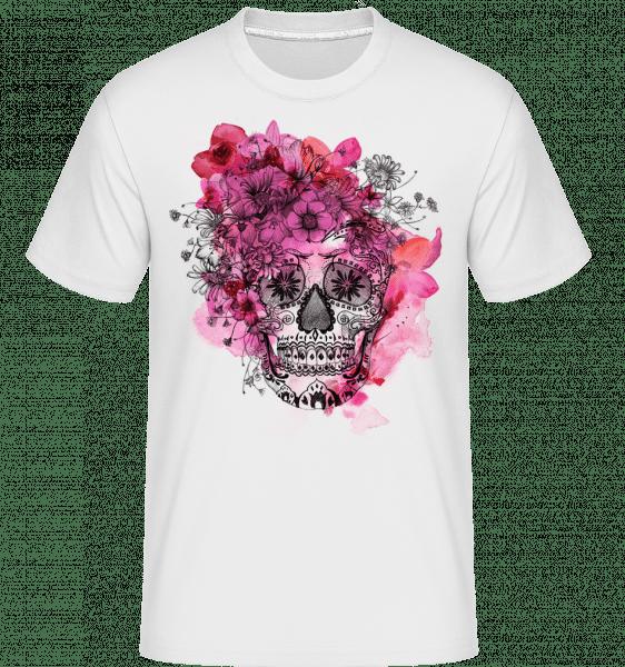 Día de los Muertos Skull -  Shirtinator Men's T-Shirt - White - Vorn