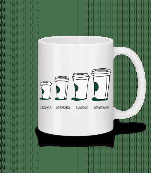 Coffee Small Medium Large Monday - Mug - White - Vorn