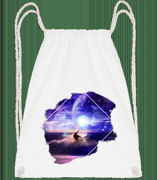 Galactic Surfer - Drawstring Backpack - White - Vorn