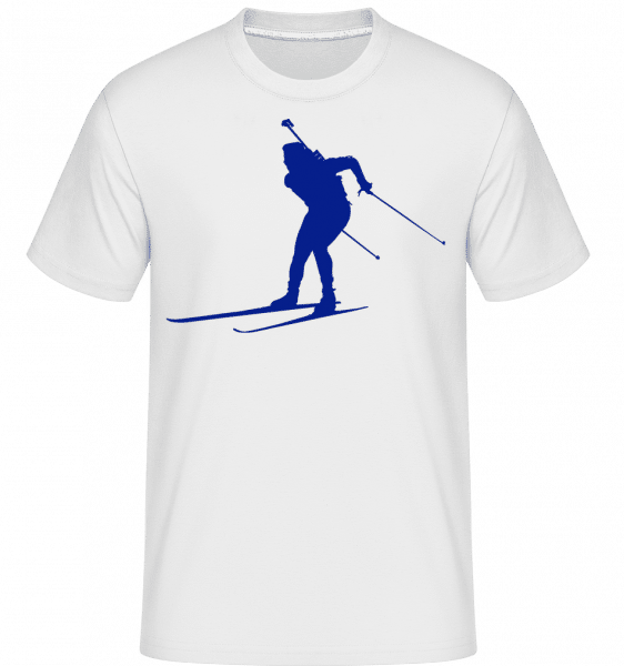 Skiing Cross Country Blue -  T-Shirt Shirtinator homme - Blanc - Devant