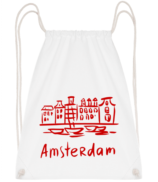 Amsterdam Chinese Style - Drawstring Backpack - White - Vorn