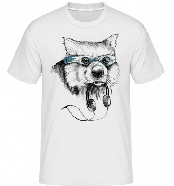 Funny Raccoon With Swimming Goggles -  Shirtinator Men's T-Shirt - White - Vorn