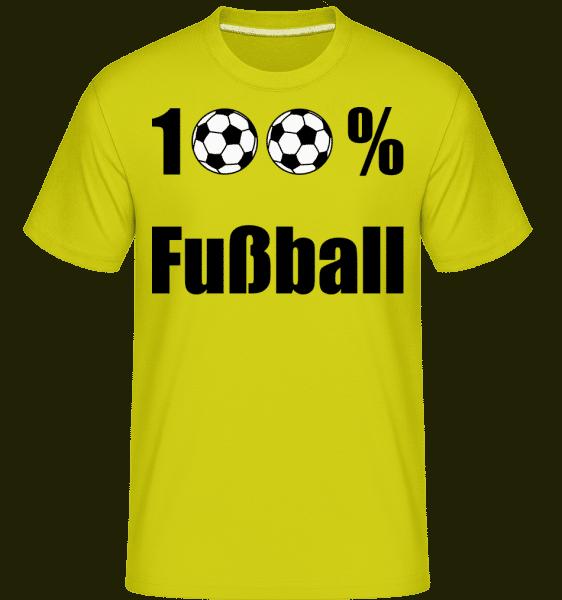 100 % Fußball - Shirtinator Männer T-Shirt - Lime - Vorn