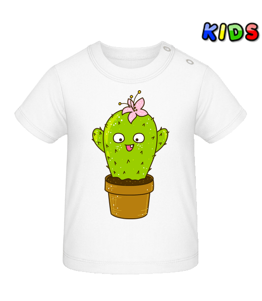 Funny Cactus - Baby T-Shirt - White - Vorn