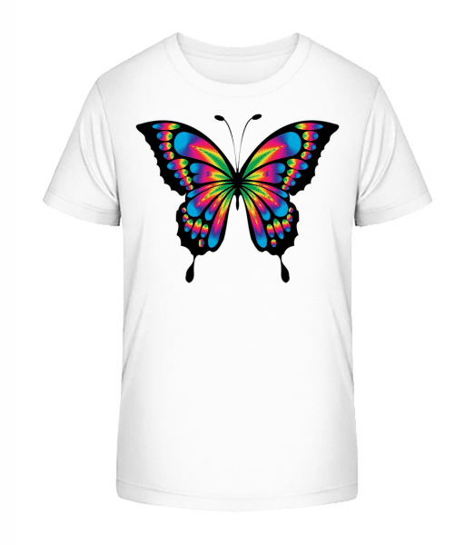 Rainbow Butterfly - Kid's Premium Bio T-Shirt - White - Vorn