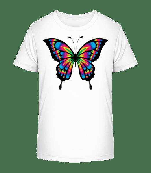 Regenbogen Schmetterling - Kinder Premium Bio T-Shirt - Weiß - Vorn