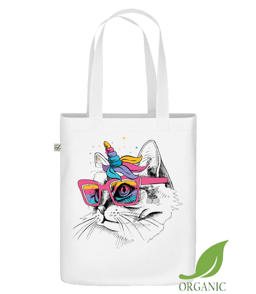"Unicorn Party Cat - Organic ""Earth Positive"" tote bag - White - Vorn"