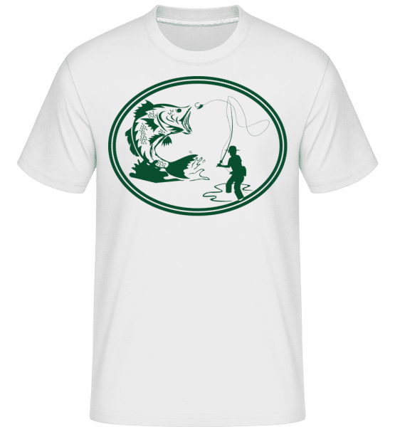 Fishing Icon Green -  Shirtinator Men's T-Shirt - White - Vorn