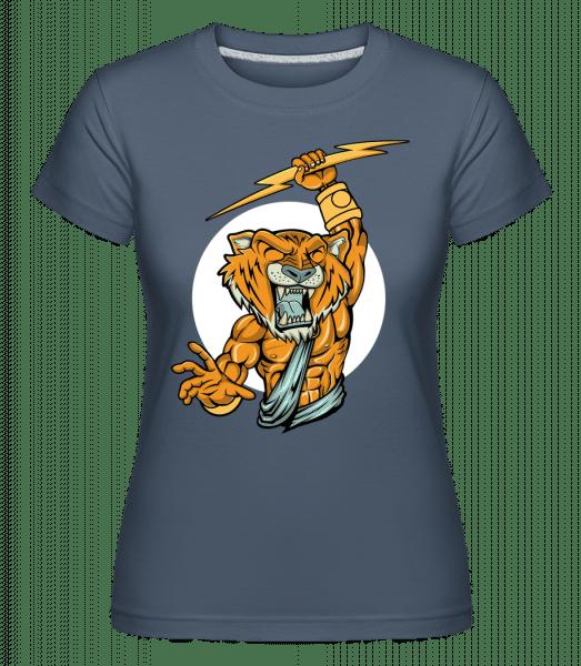 Tiger Zeus -  Shirtinator Women's T-Shirt - Denim - Vorn