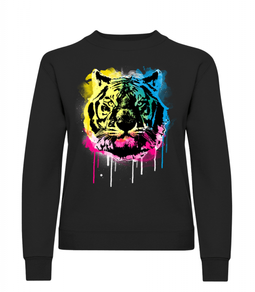 Multicolor Tiger - Classic Ladies' Set-In Sweatshirt - Black - Vorn