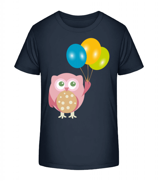 Cute Owl With Balloons - Kid's Premium Bio T-Shirt - Navy - Vorn