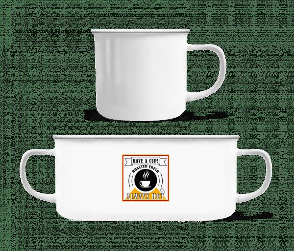 Have A Cup - Emaille-Tasse - Weiß - Vorn