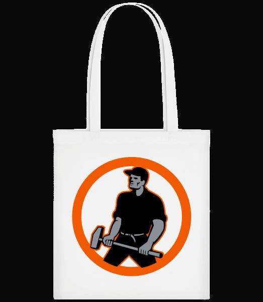 Construction Worker Logo - Carrier Bag - White - Vorn