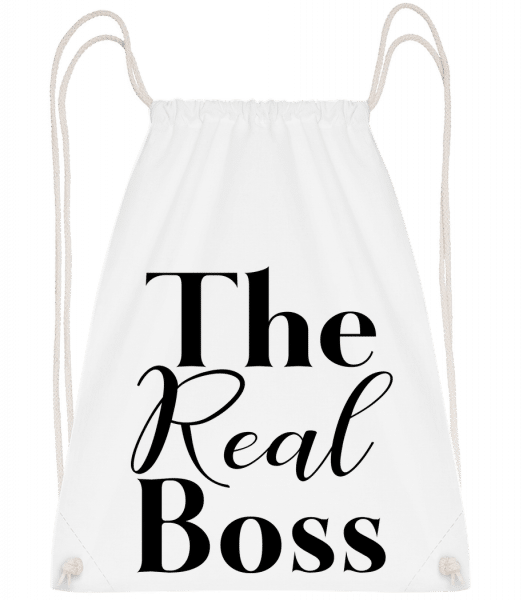 The Real Boss - Drawstring Backpack - White - Vorn